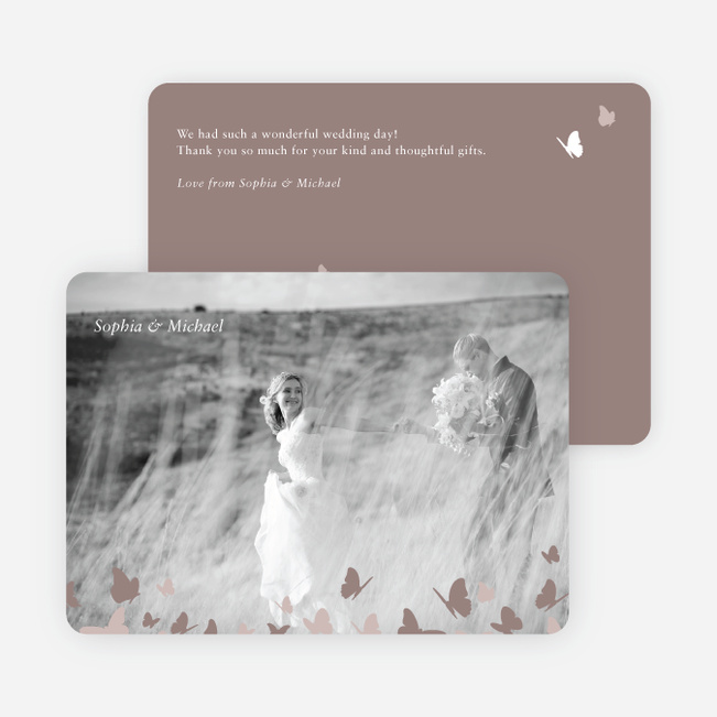 Butterfly Thank You Cards - Brown