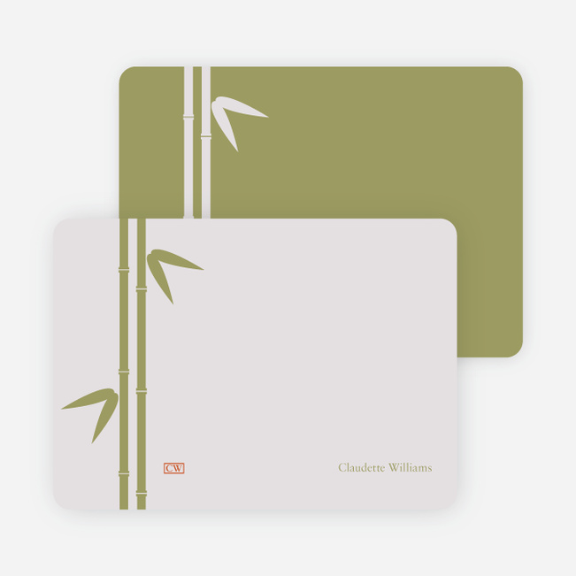Note Cards: 'Bamboo Zen Bridal Shower' cards. - Pale Lavender