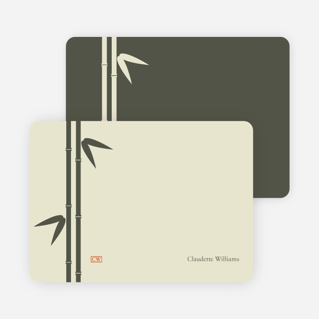 Note Cards: 'Bamboo Zen Bridal Shower' cards. - Khaki