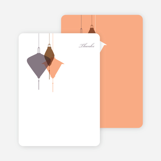 Note Cards: 'Lantern Lights Bridal Shower' cards. - Mauve