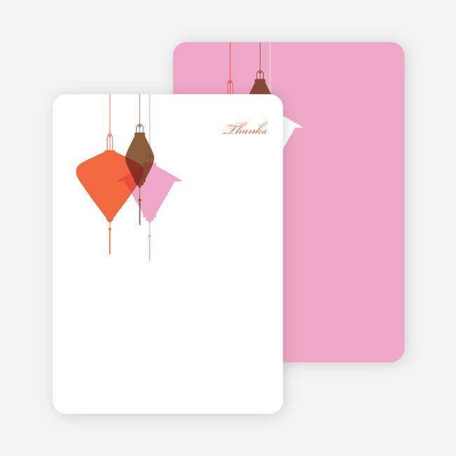 Note Cards: 'Lantern Lights Bridal Shower' cards. - Carrot Orange