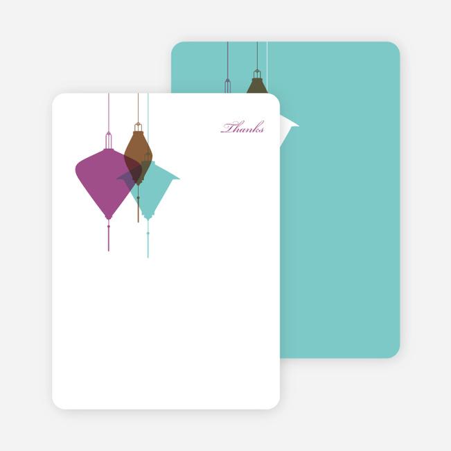 Note Cards: 'Lantern Lights Bridal Shower' cards. - Magenta