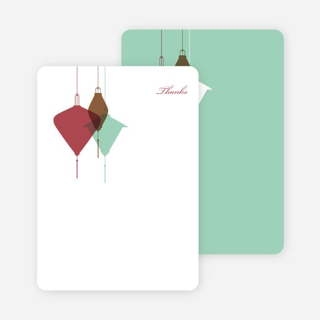 Note Cards: 'Lantern Lights Bridal Shower' cards. - Maroon