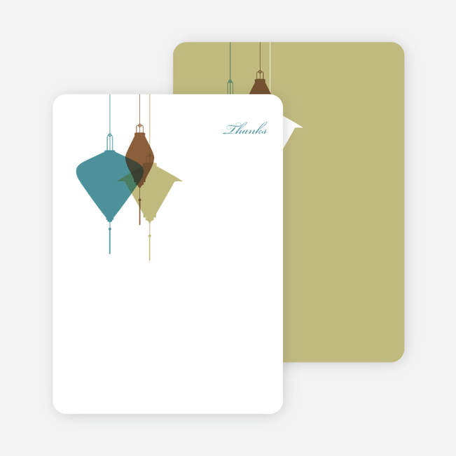 Note Cards: 'Lantern Lights Bridal Shower' cards. - Teal