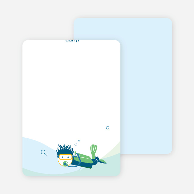 Note Cards: 'Pool Party' cards. - Denim Blue