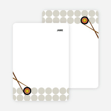 Note Cards: 'Sushi Party Yummm!' cards. - Sand
