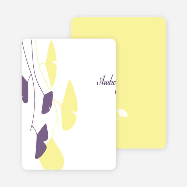 Personal Stationery for Bridal Shower Invitations: Leaves - Lemon Chiffon