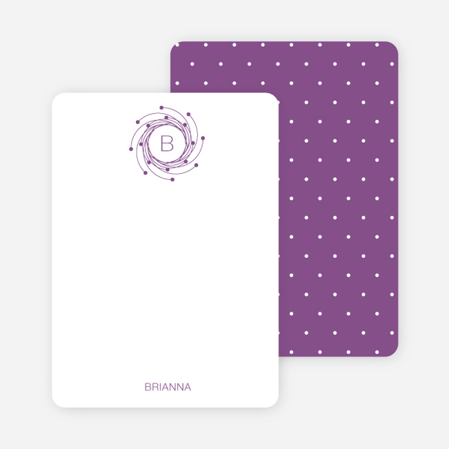Personal Stationery for Peaceful Wreath and Dove Baby Announcement - Lilac