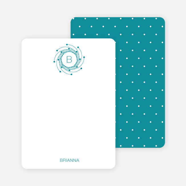 Personal Stationery for Peaceful Wreath and Dove Baby Announcement - Cadet Blue