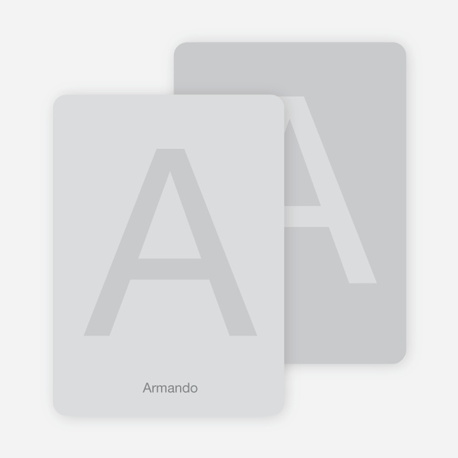 Simply Letters Personalized Note Cards - Light Silver