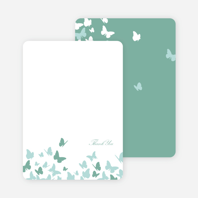Stationery: 'Butterfly Joy Wedding Shower' cards. - Aqua
