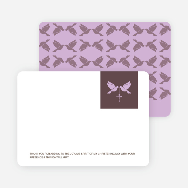 Stationery: 'Dove and the Holy Spirit Baptism' cards. - Purple