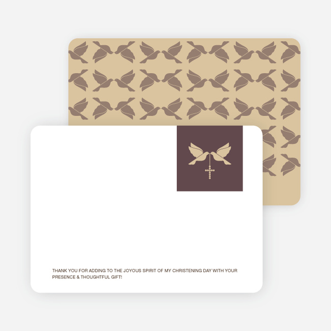 Stationery: 'Dove and the Holy Spirit Baptism' cards. - Yellow