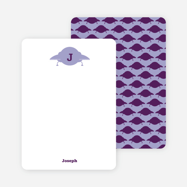 Stationery: 'Galaxy Spaceship' cards. - Violet