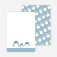 Stationery: 'Penguin Family' cards. - Dusty Blue