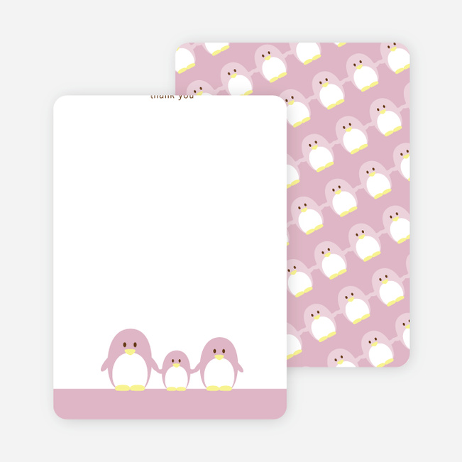 Stationery: 'Penguin Family' cards. - Tea Rose