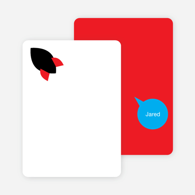 Stationery: 'Rocket Takeoff' cards. - Red