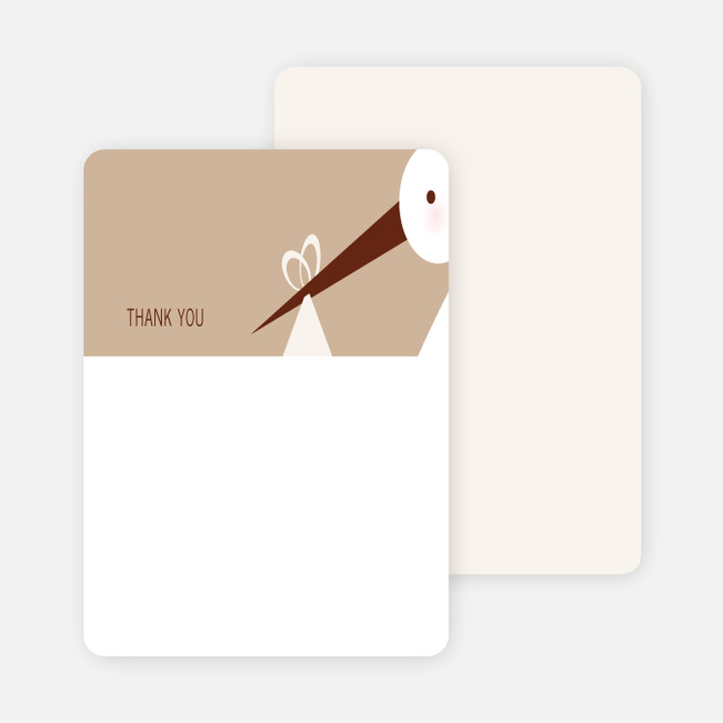 Stationery: 'Stork Baby Shower' cards. - Almond