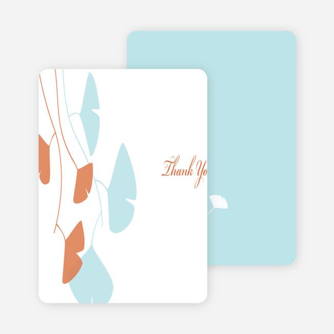 Thank You Card for Bridal Shower Invitations: Leaves - Aqua