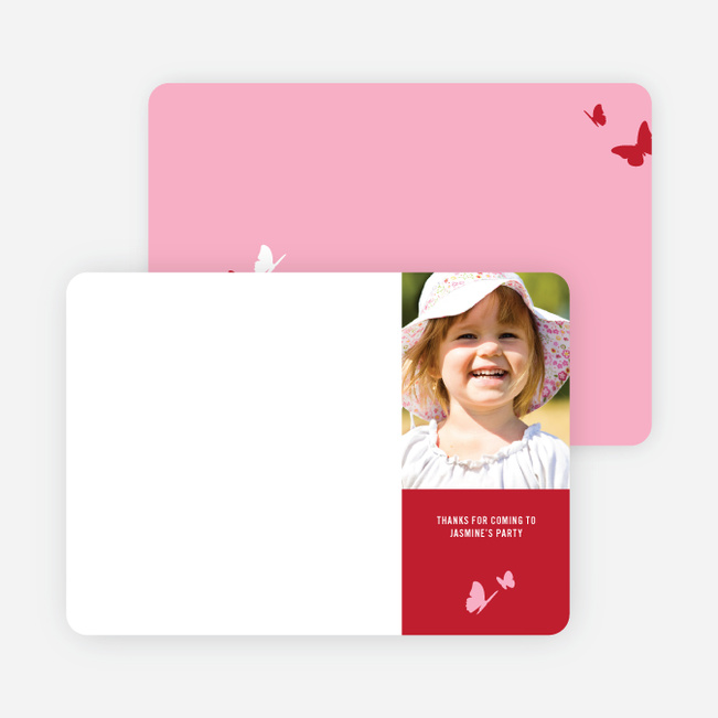 Thank You Card for Flying Butterfly Modern Birthday Invitation - Tomato Red