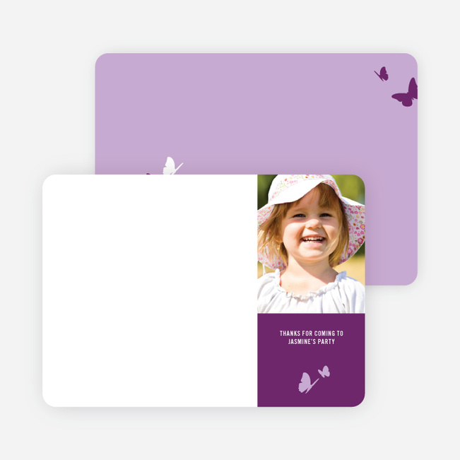 Thank You Card for Flying Butterfly Modern Birthday Invitation - Magenta