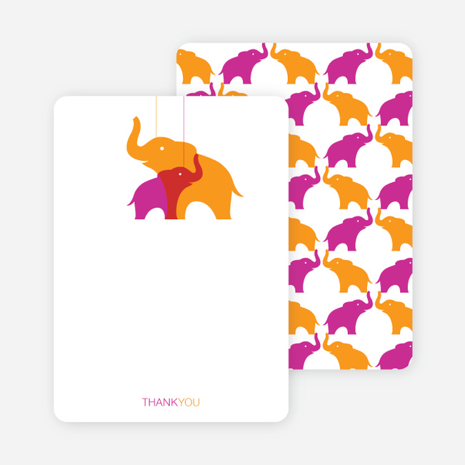 Thank You Card for Momma and Baby Elephant Baby Shower Invitation - Orange