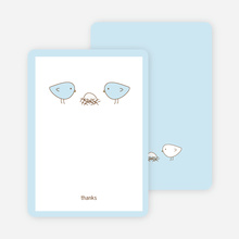 Thank You Card for Nesting Birds Baby Shower Invitation - Powder Blue