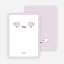 Thank You Card for Nesting Birds Baby Shower Invitation - Pale Lavender