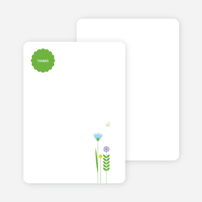 Thank You Card for Springtime Baby Shower Invitations - Baby Blue