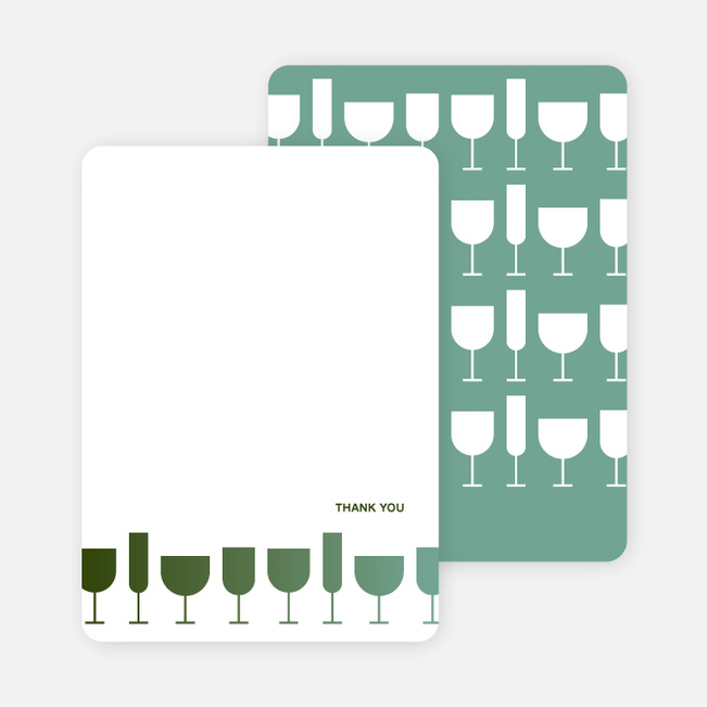 Thank You Card for Wine Toast Party Invitation - Dark Sage