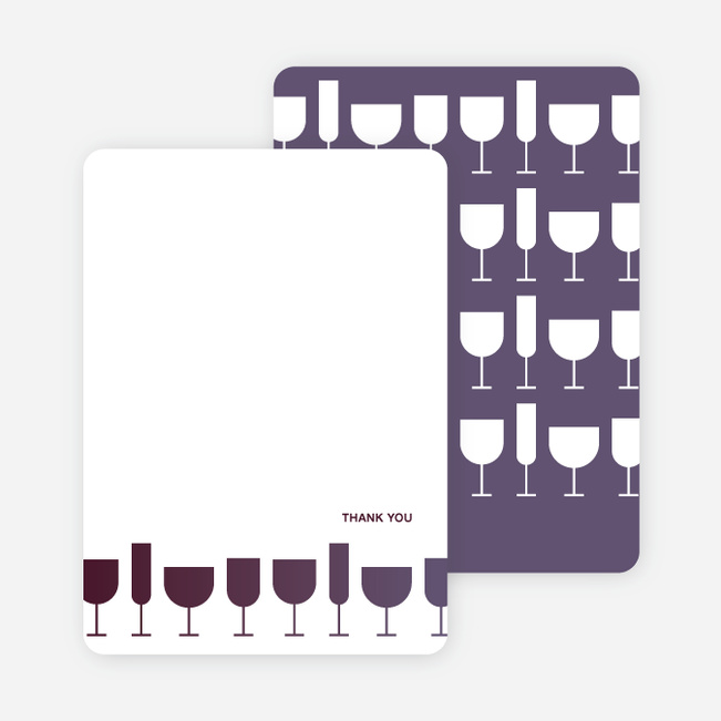 Thank You Card for Wine Toast Party Invitation - Plum