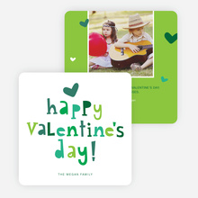 Colorful Happy Valentine's Day Cards - Green
