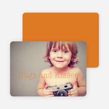 Hugs & Kisses Valentine's Day Cards - Orange
