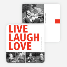 Live, Laugh & Love Valentine's Day Cards - Red