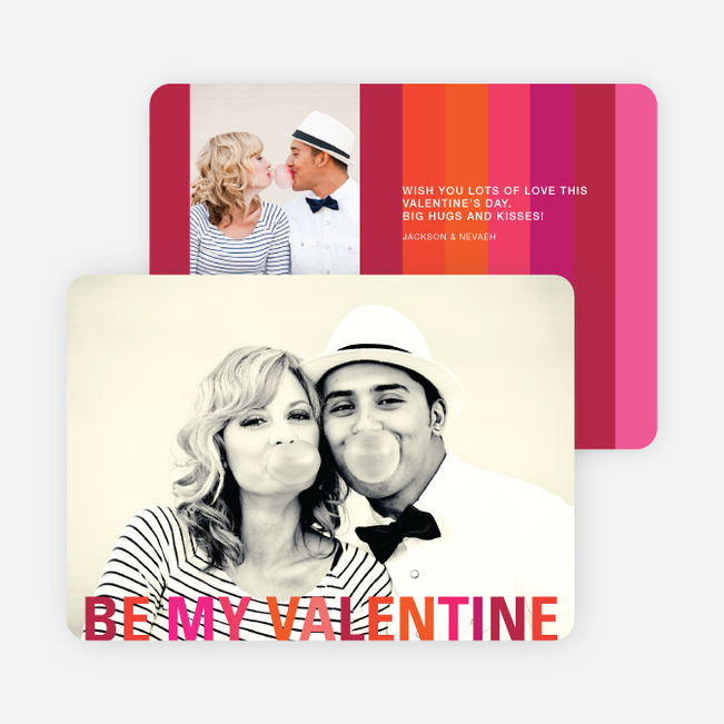 Valentine's Day Stripes Photo Cards - Red