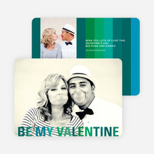 Valentine's Day Stripes Photo Cards - Green