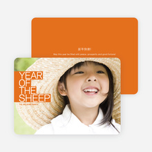 Year of the Sheep Photo Cards, Bold and Modern - Orange