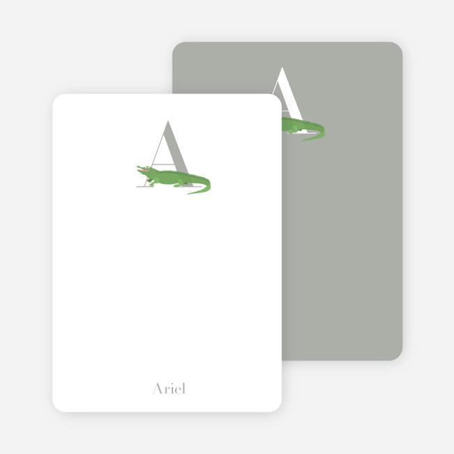 Alphabet Animals A Alligator Monogram Stationery - Asparagus