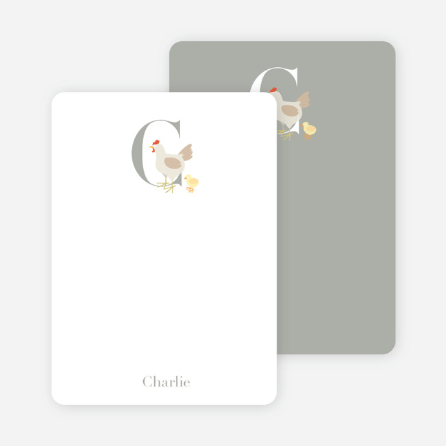 Alphabet Animals C Chicken Monogram Stationery - Ecru