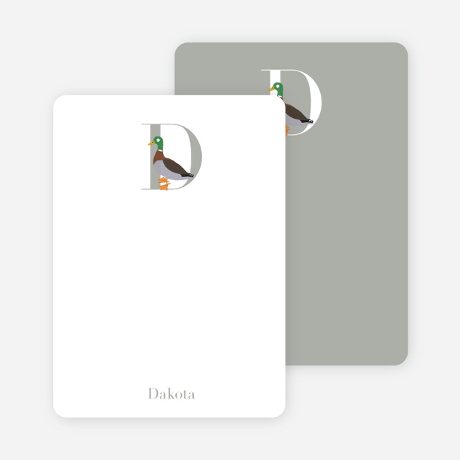 Alphabet Animals D Duck Monogram Stationery - Espresso