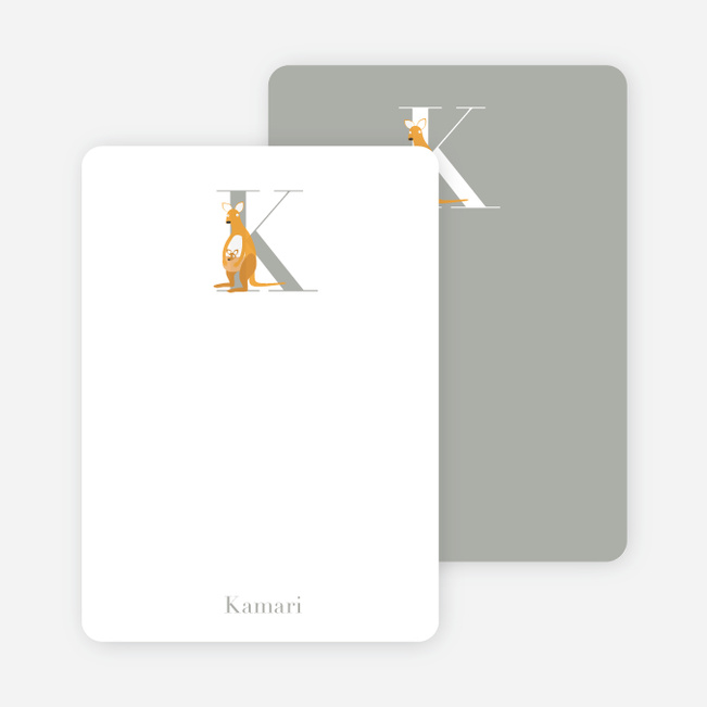 Alphabet Animals K Kangaroo Monogram Stationery - Saffron