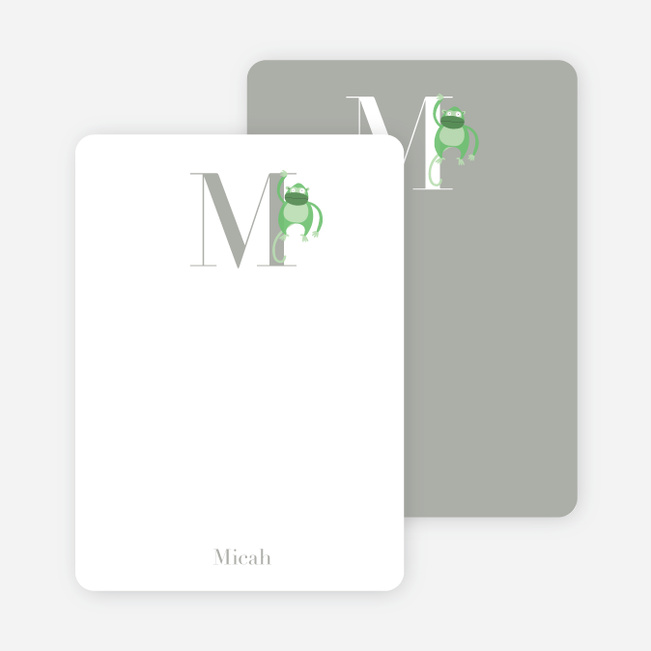 Alphabet Animals M Monkey Monogram Stationery - Emerald Green