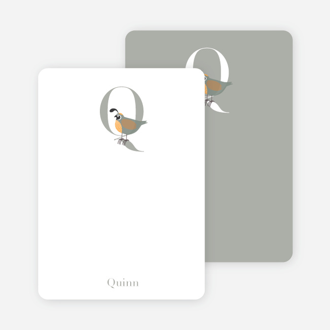 Alphabet Animals Q Quail Monogram Stationery - Grey