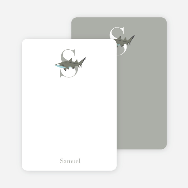 Alphabet Animals S Shark Monogram Stationery - Charcoal