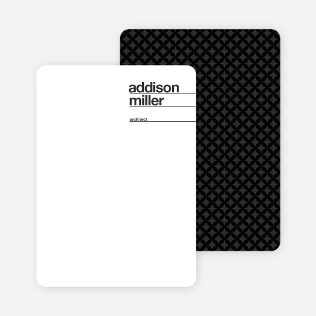 Linear Name Cards Personal Stationery - Black