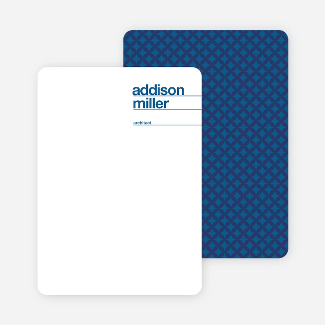 Linear Name Cards Personal Stationery - Cobalt