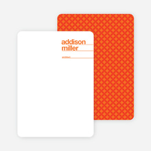 Linear Name Cards Personal Stationery - Persimmon