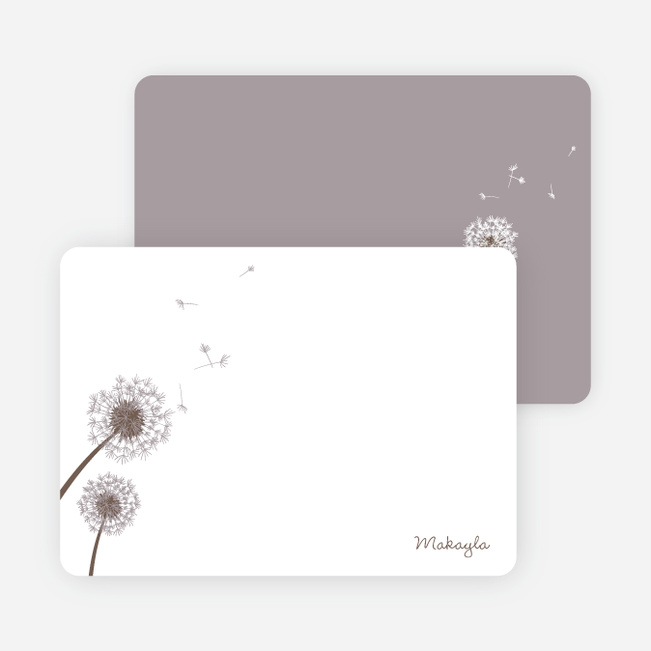 Note Cards: 'Classic Dandelions' cards. - Mauve