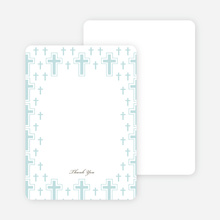 Note Cards: 'Light of the Cross Baptism Invitation' cards. - Blue Green