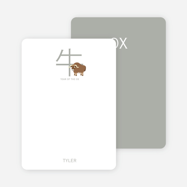 Notecards for the 'Chinese Ox' cards. - Bronze